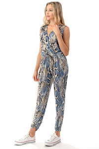 Crossover Front Jumpsuit - Blue