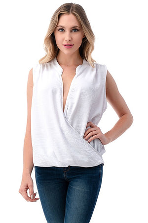 Sleeveless Surplice Top