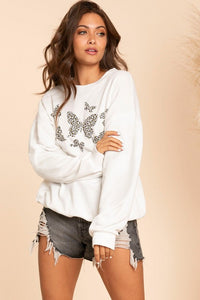 Leopard Butterfly Sweatshirt  - Off White
