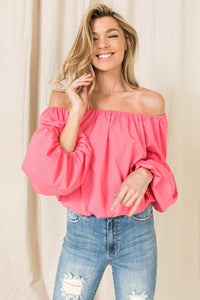 Bubble Sleeve Top - Indian Pink
