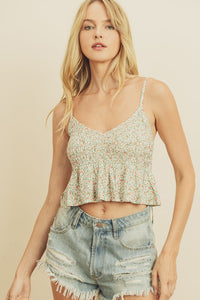 Ditsy Floral Smocked Cami Top - Ivory/Multi
