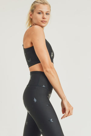 Black Star Foil Sports Bra with Overlay Back