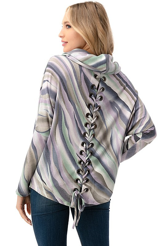 Cowl Neck Lace Up Back Sweater - Purple