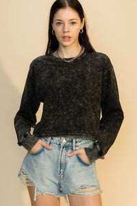 Crew Neck Crop Top - Black, Blue, Olive