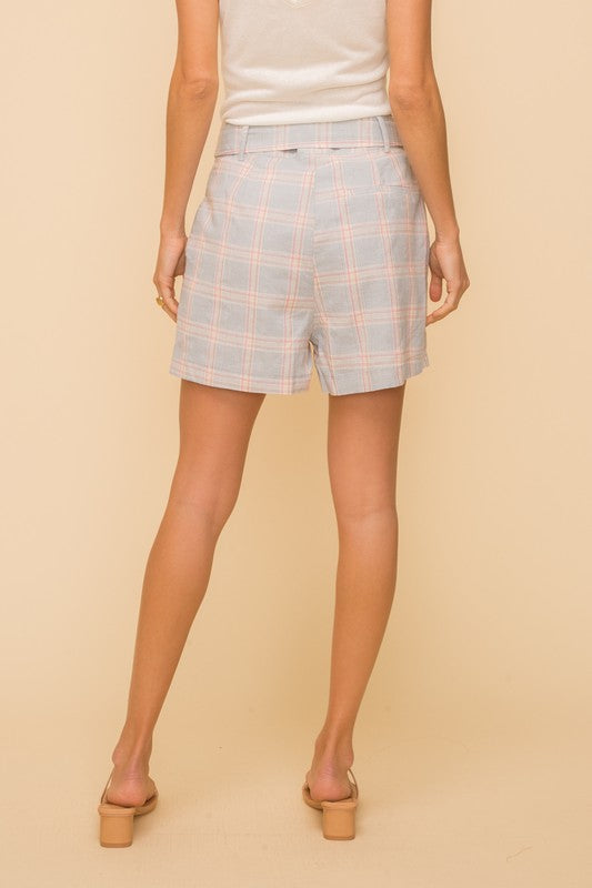 Belted Plaid Shorts