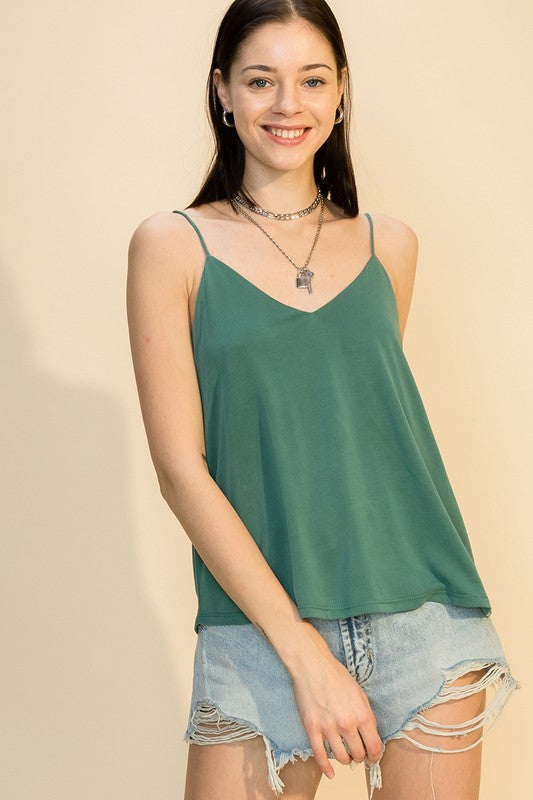 V-Neck Cami Top w/ Open Back