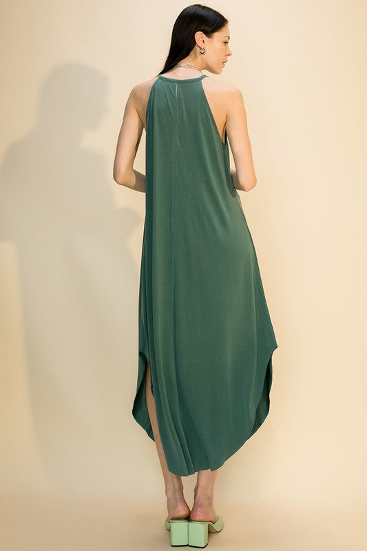 Scoop Bottom Dress w Back Keyhole - Teal