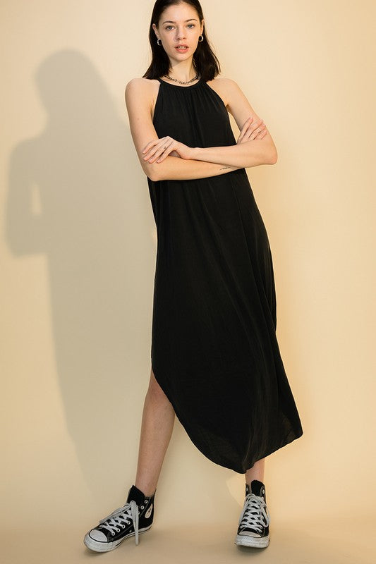 Scoop Bottom Dress w Back Keyhole - Black
