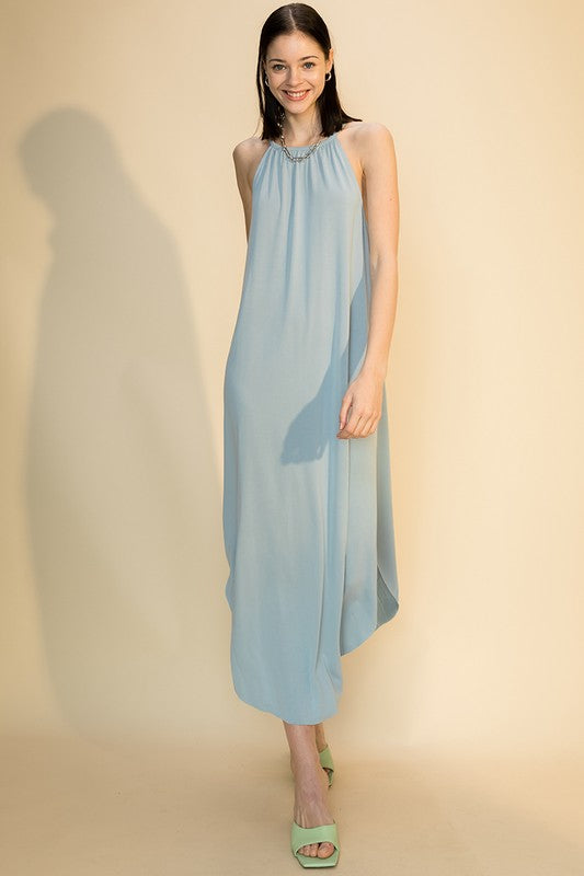 Scoop Bottom Dress w Back Keyhole - Smoke Blue