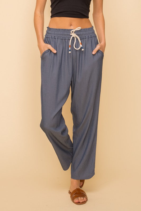 Drawstring Pull on Trousers - Dk Denim