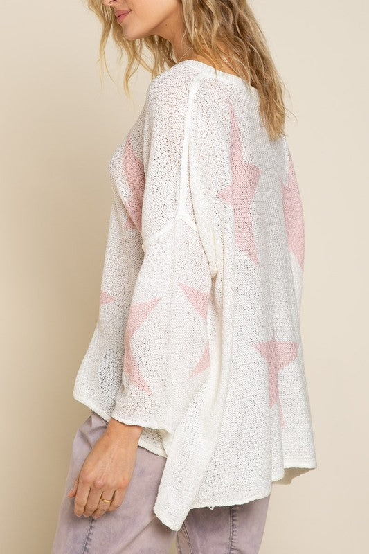 Star Sweater - White/Pink