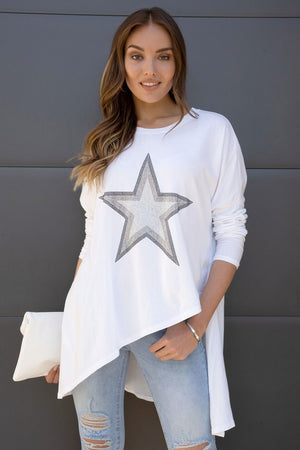 Rhinestone Star Top - White