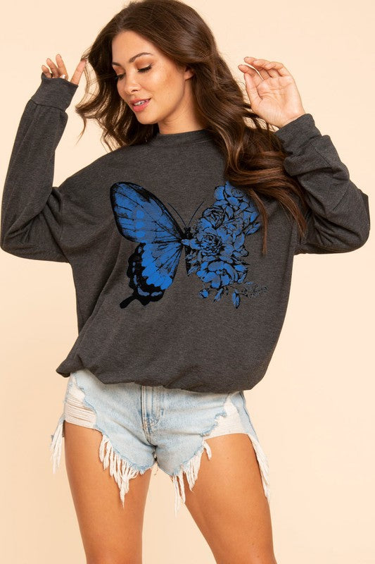 Butterfly Sweatshirt - Charcoal