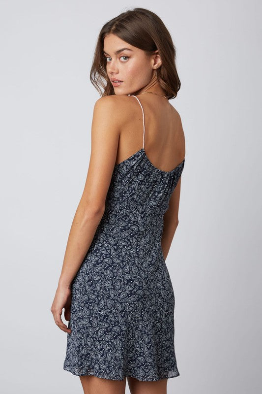 Paisley Print Dress - Navy