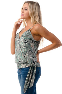 Crossover Cami with Side Tie - Green/Pink