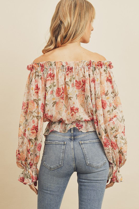 Tropical Floral Off the Shoulder Top