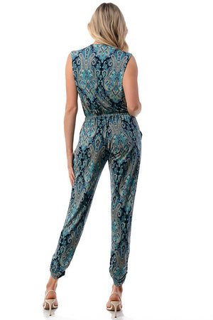 Sleeveless Crossover Front Jumpsuit