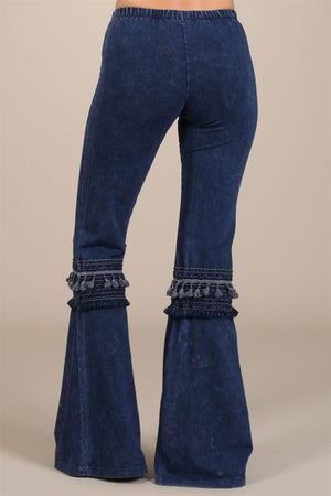 Bell Bottom Pants with Fringed Crochet Lace - Electric Blue