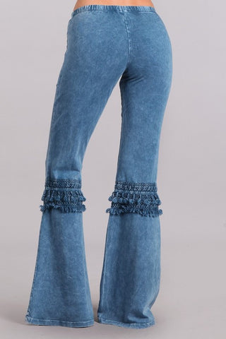 Bell Bottom Pants with Fringed Crochet Lace