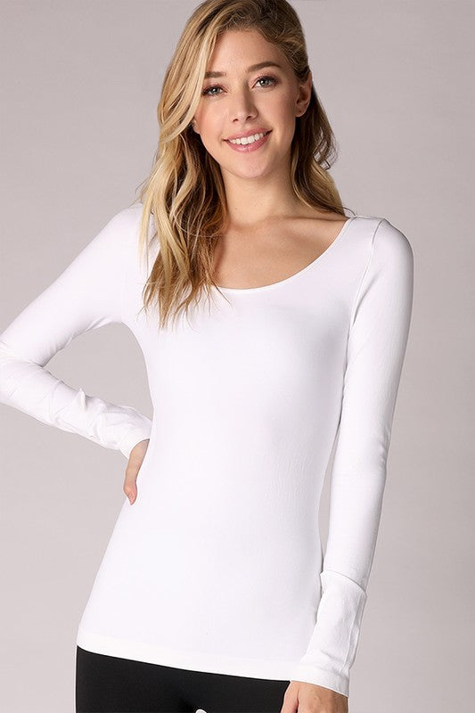 Long Sleeve Scoop Neck Top