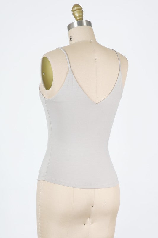 Fitted V-Neck Cami Top - New Fog
