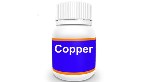 Bottle of Copper dietary supplement
