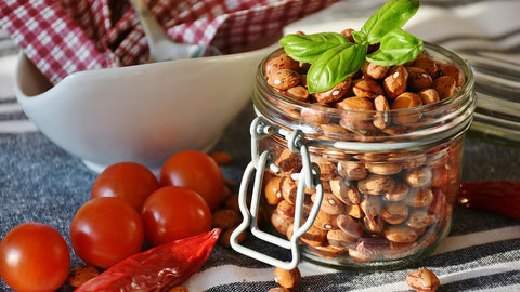 Beans in glass jar