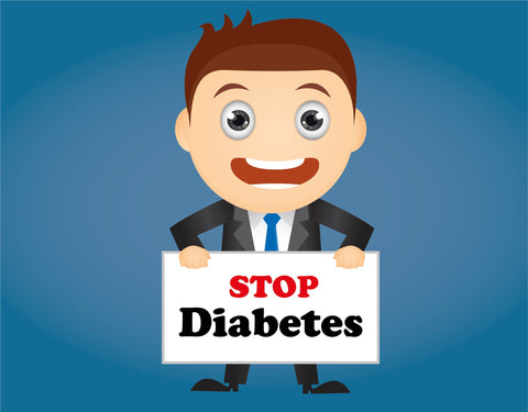 "Man holding board with words ""stop diabetes"""
