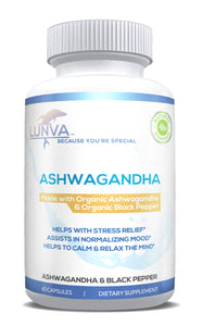 Lunva Organic Ashwagandha with Organic Black Pepper Dietary Supplement