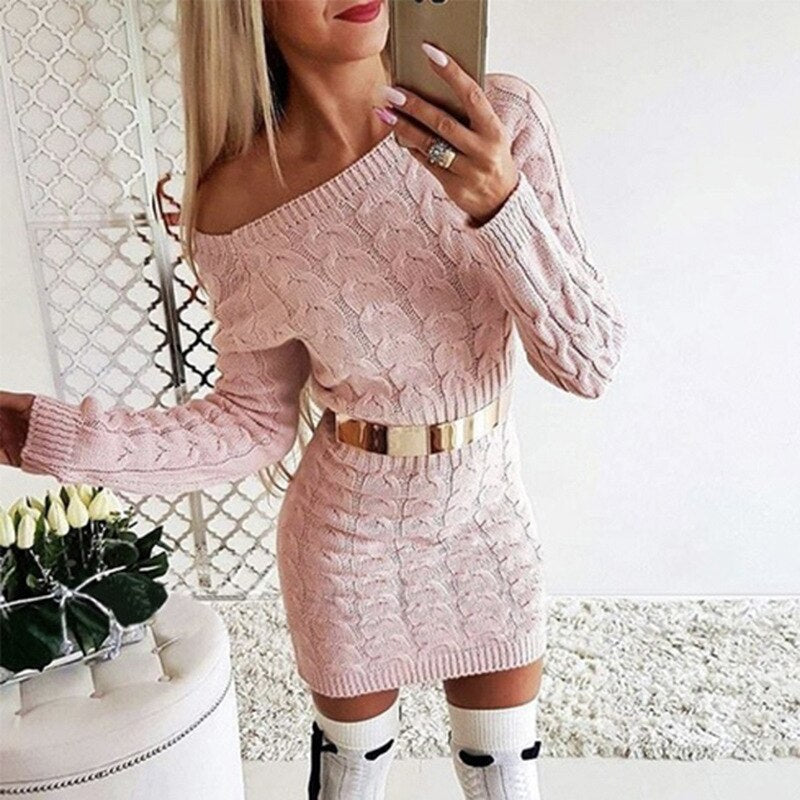Off Shoulder Sweater Dress