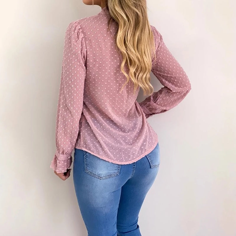 V-neck Pink Blouse