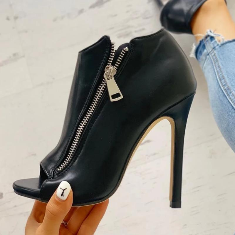 Zipper Thin High Heels