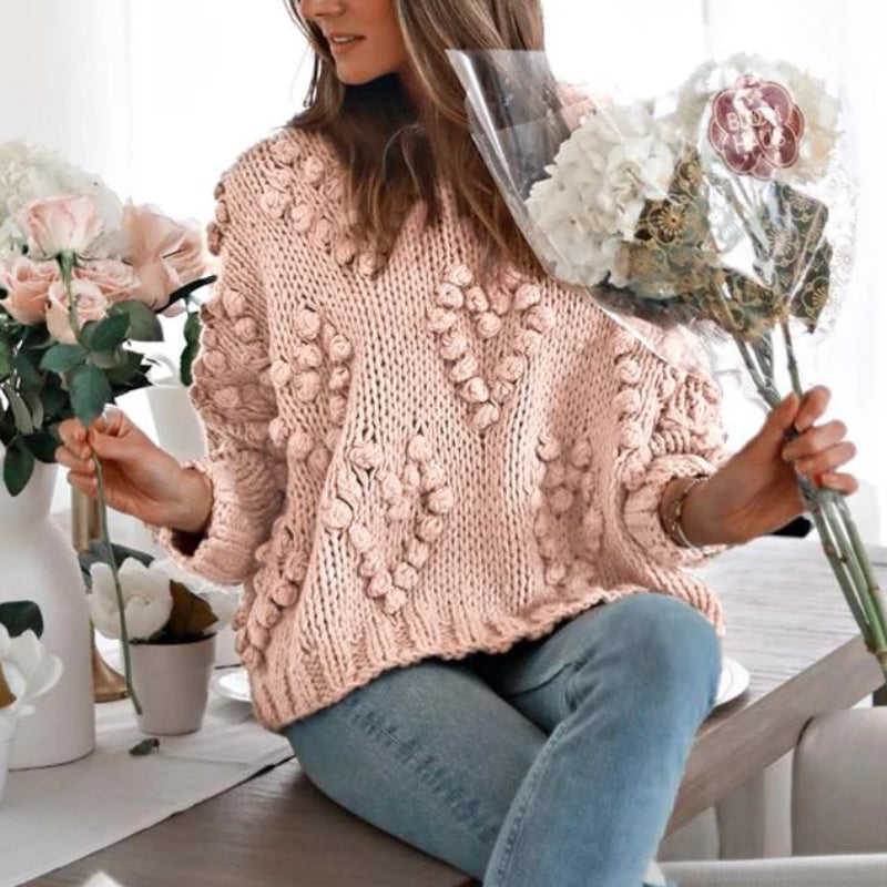 Heart Pompom Sweater