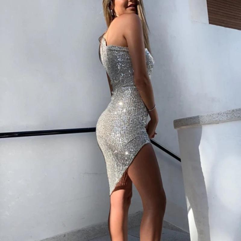 Sequins One Shoulder Dress