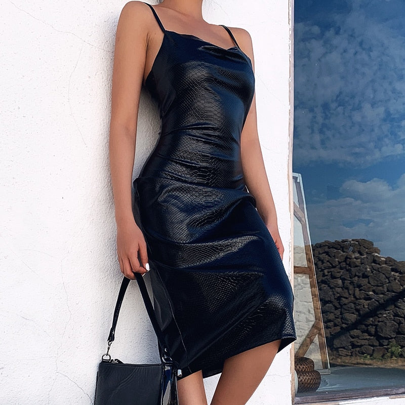 Black Faux Leather Dress