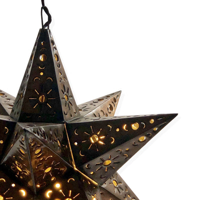 Punched Tin Hanging Star Lamps