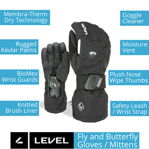 LEVEL Fly Snowboard Mittens with Wrist Guards - Key Product Features