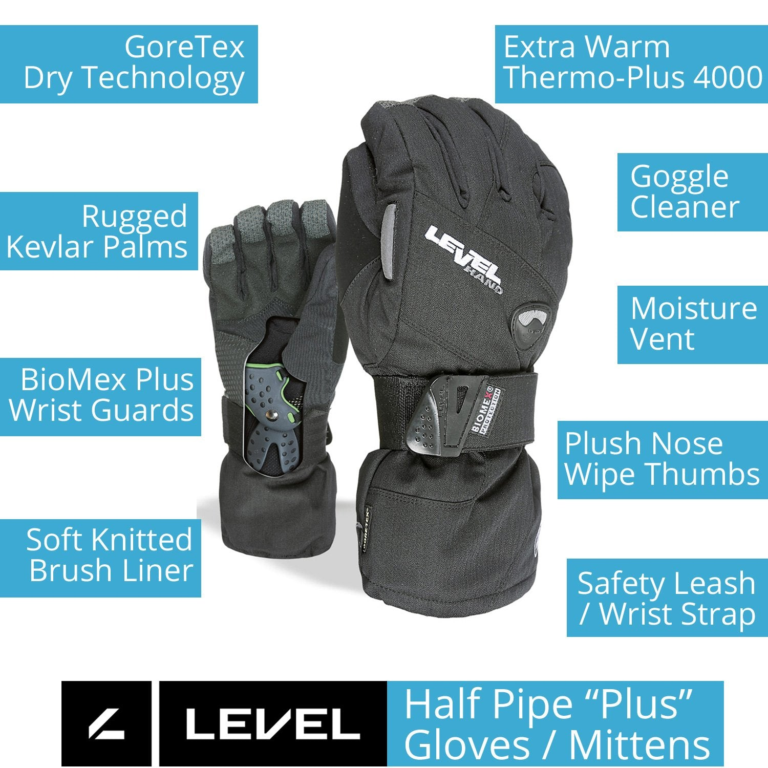 LEVEL Half Pipe Snowboard Gloves with Wrist Guards - Black