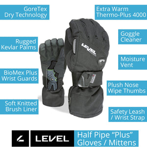 "LEVEL Half Pipe ""Plus"" GTX Snowboard Mittens with Wrist Guards - Key Product Features"