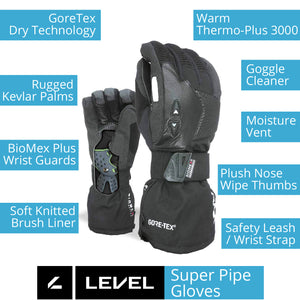 LEVEL Super Pipe GTX Snowboard Gloves with Wrist Guards | LEVEL BioMex Gloves - Key Product Features