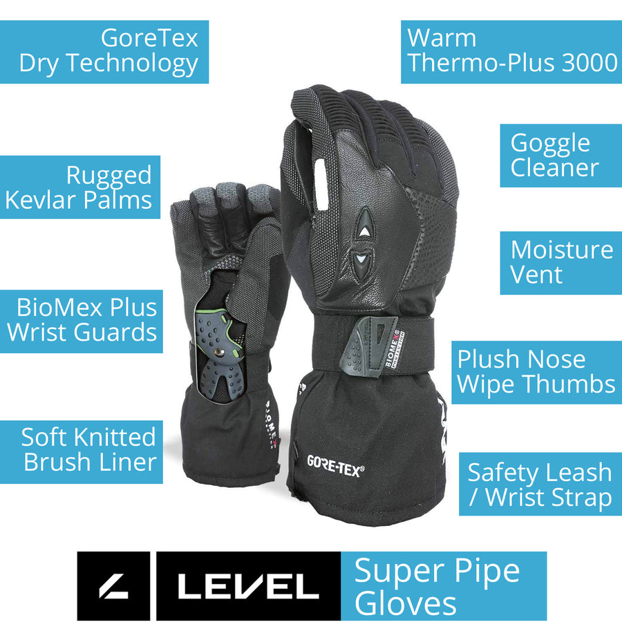 LEVEL Super Pipe GTX Snowboard Gloves with Wrist Guards | LEVEL BioMex Gloves