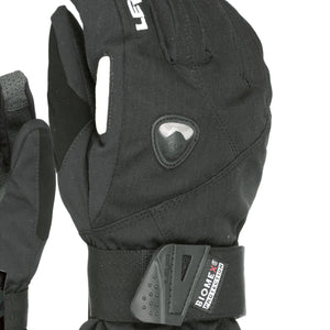 LEVEL Fly Snowboard Mittens with Wrist Guards - Close Up View of Black Color
