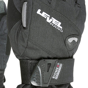 LEVEL Half Pipe Snowboard Gloves with Wrist Guards - Close Up View of Black Color