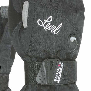 LEVEL Half Pipe GTX Women's Snowboard Gloves with Wrist Guards - Close In View of Black Color