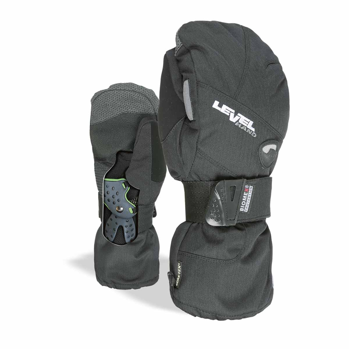 LEVEL Half Pipe GTX Snowboard Mittens with Wrist Guards - Black