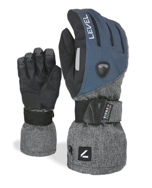 LEVEL Fly Snowboard Gloves with Wrist Guards | LEVEL BioMex Gloves - Navy/Grey