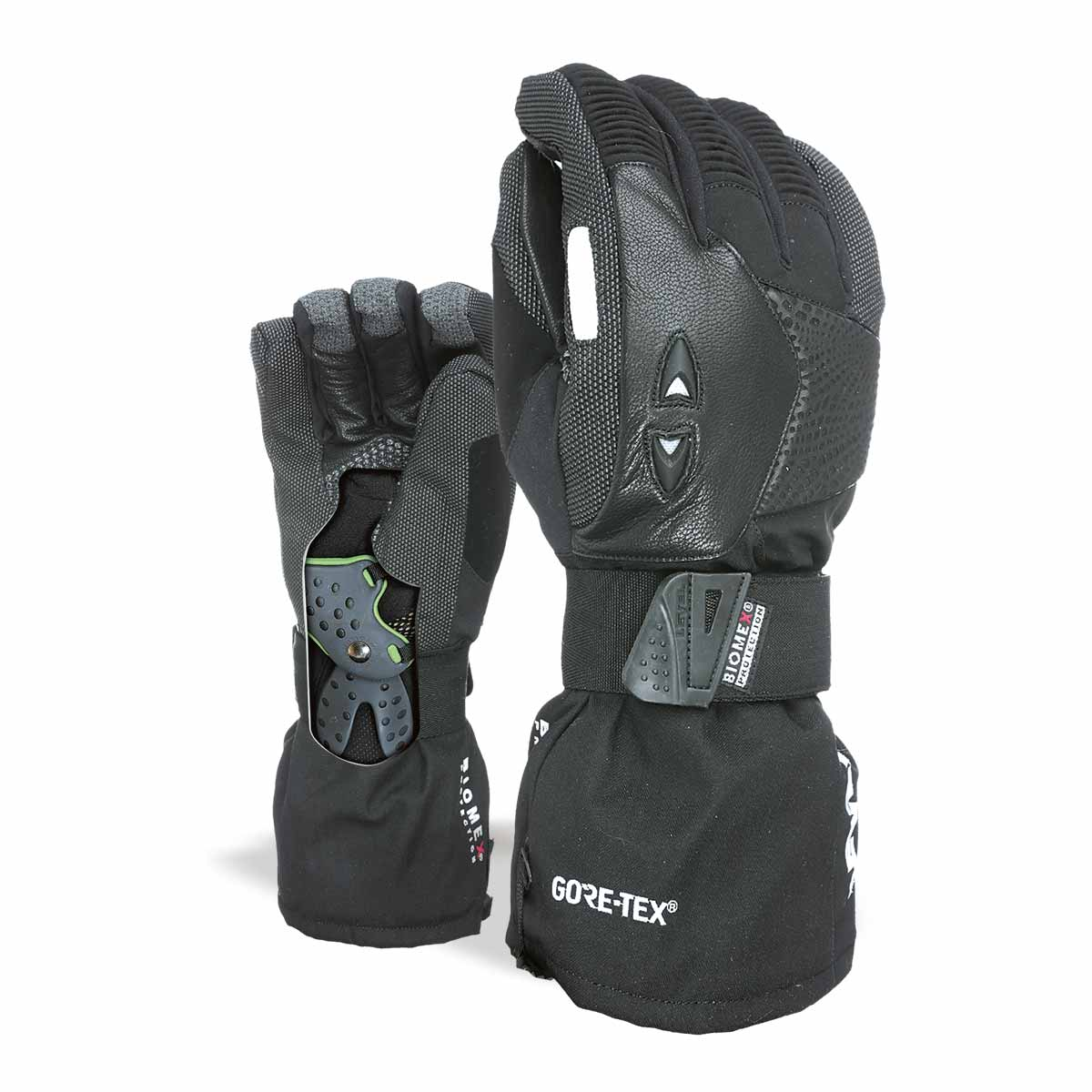 LEVEL Super Pipe Snowboard Gloves with Wrist Guards | Black