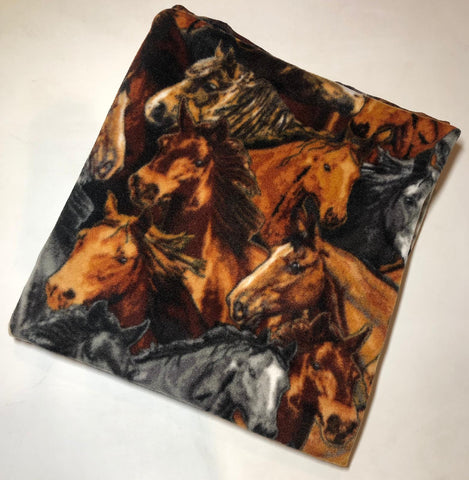 "ZooFleece Horses Equestrian Majestic Fleece Brown 60X60"" Blanket Mare Quilt Throw Linen Comfortable Best Friend Gift Birthday"