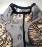ZooFleece Cats Grey Sweater Cute Cat Kittens Jacket Animal Coat Pet Gift S-3X