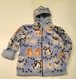ZooFleece Kids Reversible White Terrier HeavyWeight Hooded Blue Dogs Puppies Fleece Children Baby Jacket Winter Best Friend Gift Toddler